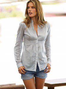 Frayed Jean Short and Linen Pleated Front Shirt - $55